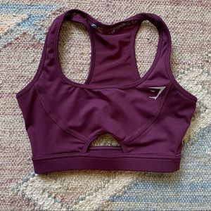Gymshark Sports Bra, Burgundy XS